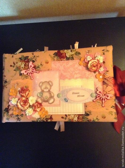 Подарки для новорожденных, ручной работы. Ярмарка Мастеров - ручная работа. Купить Альбом для новорожденной девочки. Handmade. Бордовый, скрапукрашения