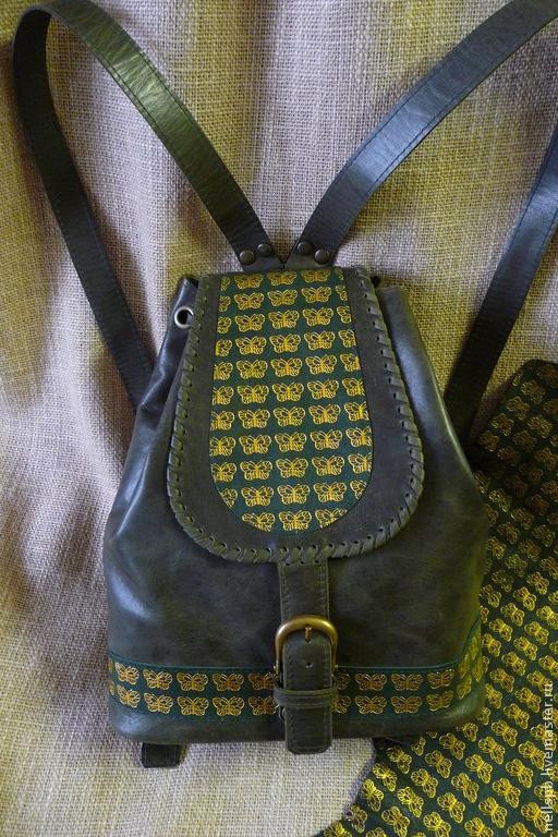 Рюкзаки ручной работы. Ярмарка Мастеров - ручная работа. Купить Тёмно-зелёный с бабочками. Handmade. Тёмно-зелёный, рюкзак из кожи