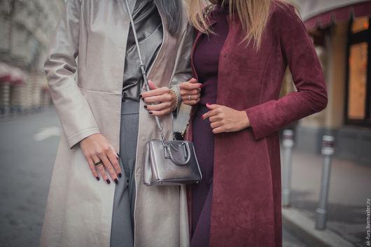 Верхняя одежда ручной работы. Ярмарка Мастеров - ручная работа. Купить Пальто Серебристо Кремовое Кожаное. Handmade. Пальто