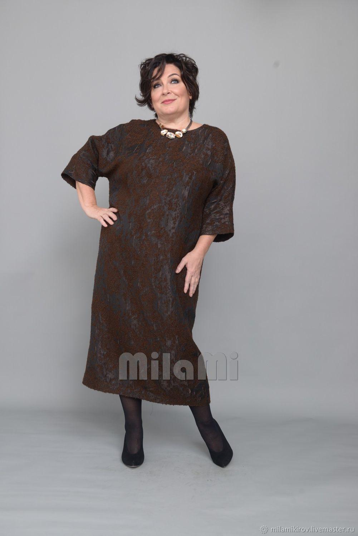 Dress with one-piece sleeves, Italian jacquard Art. Four thousand one hundred seventeen, Dresses, Kirov,  Фото №1