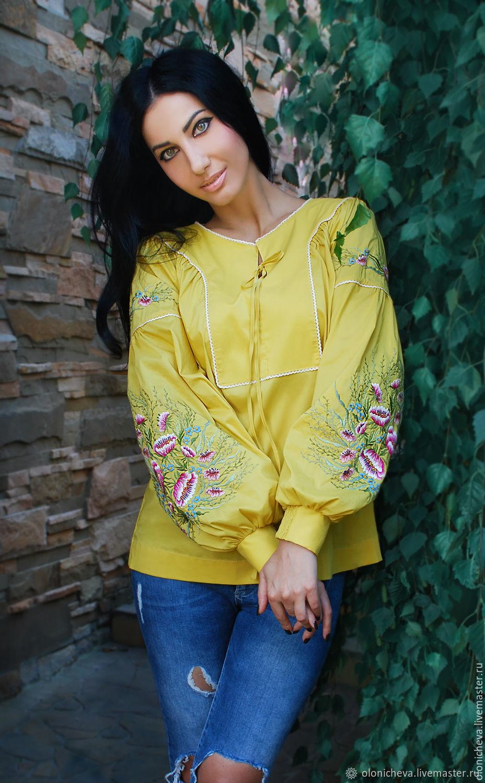 """Эксклюзивная вышитая блуза """"Солнечные Адонисы"""" ручная вышивка, Blouses, Vinnitsa,  Фото №1"""