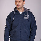 Мужская одежда handmade. Livemaster - original item Dark blue men`s fur hoodie, fur hoodie. Handmade.