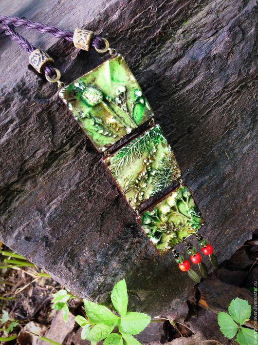 Кулоны, подвески ручной работы. Ярмарка Мастеров - ручная работа. Купить зелёный кулон из полимерной глины ФЛОРА. Handmade. Зеленый