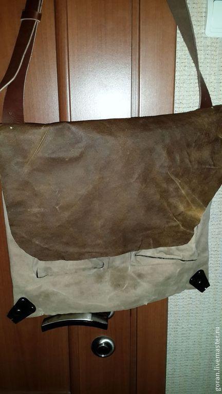 Мужские сумки ручной работы. Ярмарка Мастеров - ручная работа. Купить Мужская сумка винтаж. Handmade. Коричневый