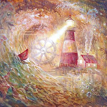 """Картины и панно ручной работы. Ярмарка Мастеров - ручная работа Картина """"Фортуна"""" маяк море рыбы золото. Handmade."""