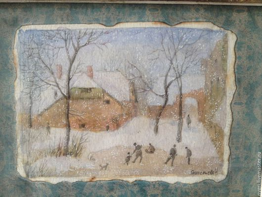 """Пейзаж ручной работы. Ярмарка Мастеров - ручная работа. Купить Картина """"Катание на коньках"""".. Handmade. Разноцветный, катание на коньках, зима"""