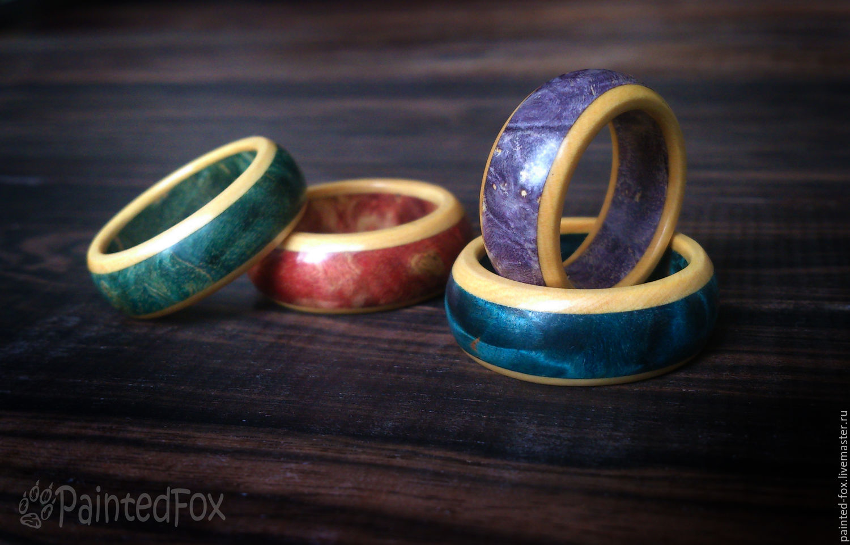 Деревянные кольца на палец 43