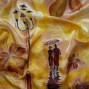 """Аксессуары ручной работы. Ярмарка Мастеров - ручная работа """"Парижская теплая осень""""батик,шарф.165-45см.натуральный шёлк.атлас.. Handmade."""