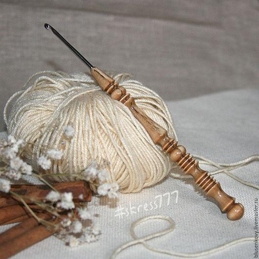 Вязание ручной работы. Ярмарка Мастеров - ручная работа. Купить Металлический крючок с ручкой из мореной березы. Handmade. Комбинированный, в подарок