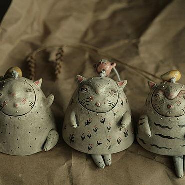 Для дома и интерьера ручной работы. Ярмарка Мастеров - ручная работа Колокольчик керамический кот. Handmade.