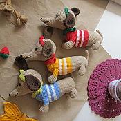 Мягкие игрушки ручной работы. Ярмарка Мастеров - ручная работа Вязаные игрушки Собака Такса. Handmade.
