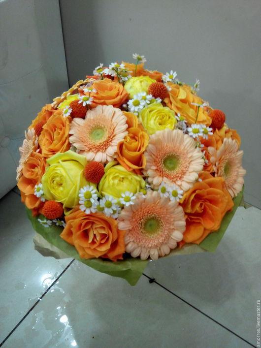 Букеты ручной работы. Ярмарка Мастеров - ручная работа. Купить Оранжевая нежность. Handmade. Букет цветов, желтый, живые цветы