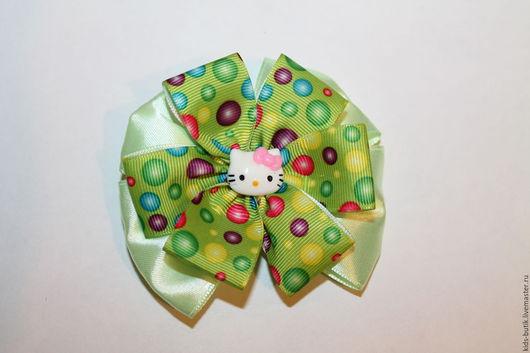 """Детская бижутерия ручной работы. Ярмарка Мастеров - ручная работа. Купить Бантик  """"Горошки на зеленом"""". Handmade. Комбинированный, заколки"""
