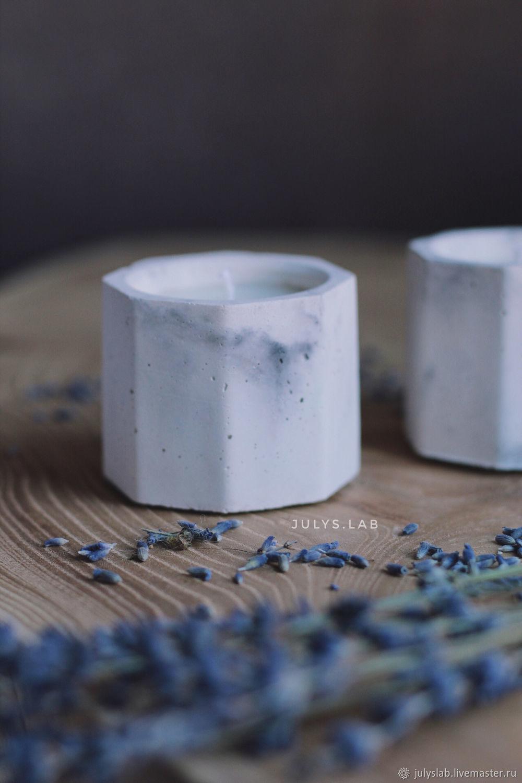 Соевая свеча в мраморном бетоне с лавандой Призма, Свечи, Санкт-Петербург,  Фото №1