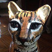 Для дома и интерьера ручной работы. Ярмарка Мастеров - ручная работа Садовая скульптура кот Оцелот. Handmade.