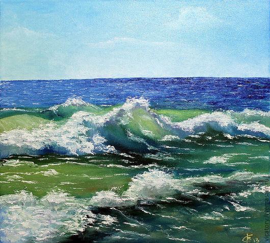 """Пейзаж ручной работы. Ярмарка Мастеров - ручная работа. Купить Картина масло """"Море. Спокойное море. Беспокойная волна."""". Handmade."""