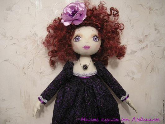 Коллекционные куклы ручной работы. Ярмарка Мастеров - ручная работа. Купить Текстильная кукла. Handmade. Фиолетовый, ручная авторская работа