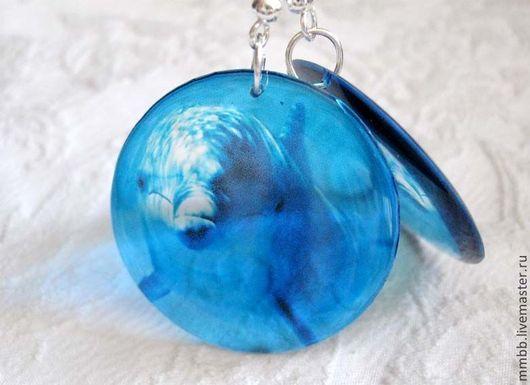 Распродажа Серьги прозрачные Дельфин Синий Голубой Запад Тропический, прозрачные серьги крупные, прозрачные серьги круглые, серьги ручной работы, серьги эпоксидная смола, Душевные штуки