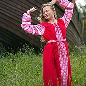 """Русский стиль handmade. Livemaster - original item Платье льняное красное """"Зорюшка"""". Handmade."""
