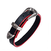 Украшения handmade. Livemaster - original item Women`s leather bracelet Black&Red with buckle. Handmade.