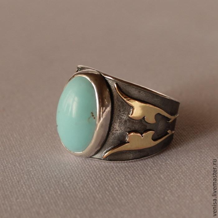 Кольцо бирюза  (серебро 925 пр., позолота)