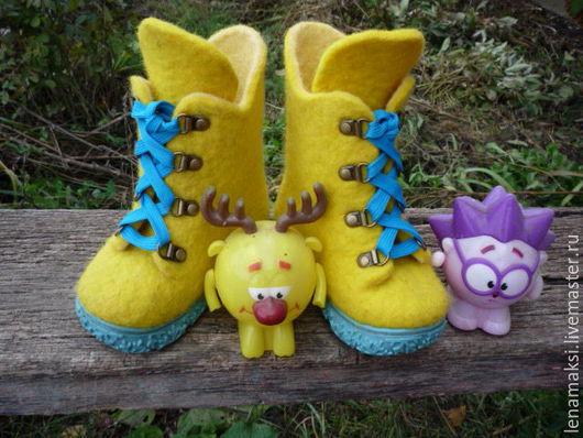 """Обувь ручной работы. Ярмарка Мастеров - ручная работа. Купить Ботиночки детские """"Желторотики"""". Handmade. Желтый, валенки на подошве"""