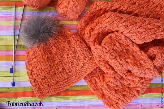 Комплекты аксессуаров ручной работы. Ярмарка Мастеров - ручная работа. Купить Шапка и шарф-снуд, оранжевый комплект теплых вязаных аксессуаров. Handmade.