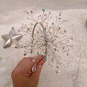 Повязки ручной работы. Ярмарка Мастеров - ручная работа Ободок снежинка из бусин. Handmade.