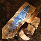 Аксессуары handmade. Livemaster - original item Camel and blue hand painted silk tie with ornaments art, blue dots. Handmade.