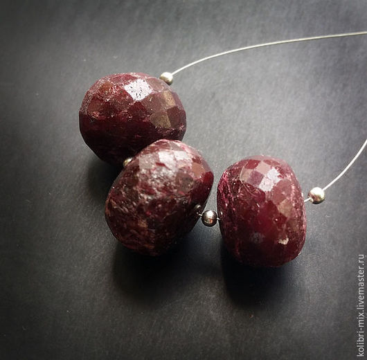 Для украшений ручной работы. Ярмарка Мастеров - ручная работа. Купить сет 3 шт бусины рубин натуральный. Handmade.