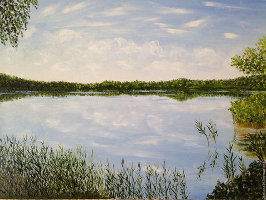 """Пейзаж ручной работы. Ярмарка Мастеров - ручная работа. Купить Картина """"Озеро и облака"""". Handmade. Летний пейзаж, лето, умиротворение"""