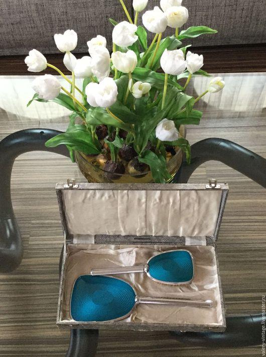 Винтажная одежда и аксессуары. Ярмарка Мастеров - ручная работа. Купить Винтажный дамский туалетный набор, в стиле голубой эмали, Англия.. Handmade.