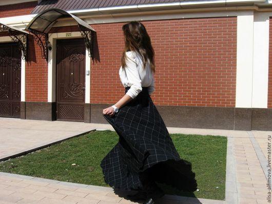 """Юбки ручной работы. Ярмарка Мастеров - ручная работа. Купить Теплая юбочка в пол с карманом """"Шейк"""". Handmade. Черный, в клеточку"""