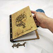 """Ежедневники ручной работы. Ярмарка Мастеров - ручная работа Блокнот из дерева и натуральной кожи """"единорог"""". Handmade."""