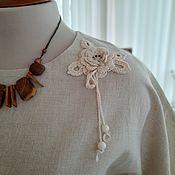 Одежда handmade. Livemaster - original item Linen blouse with lace. Handmade.
