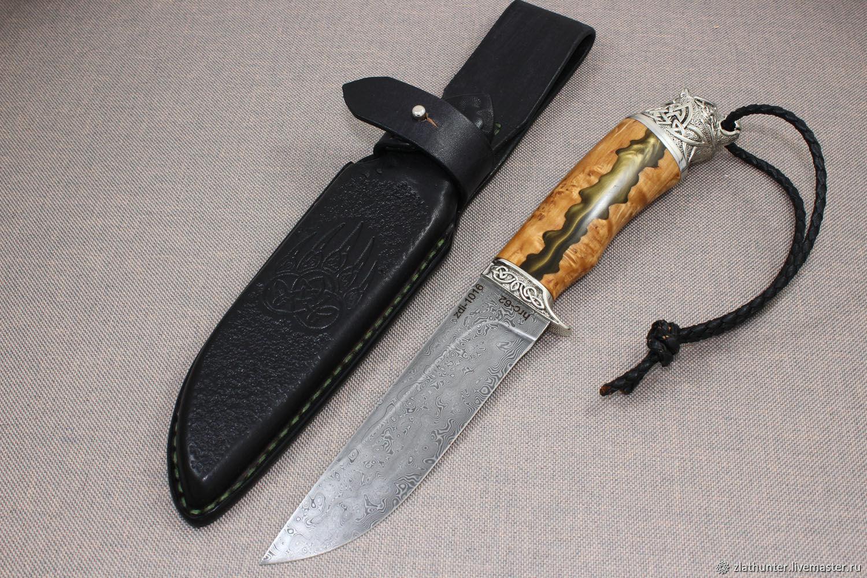 Handmade hunting knife 'Bear' Damascus, Knives, Chrysostom,  Фото №1
