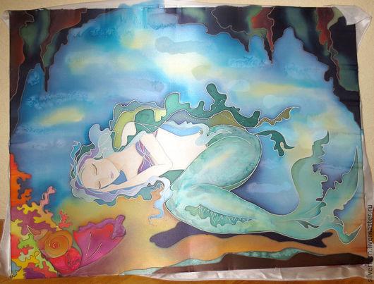 Фантазийные сюжеты ручной работы. Ярмарка Мастеров - ручная работа. Купить На дне морском (картина- холодный батик). Handmade.