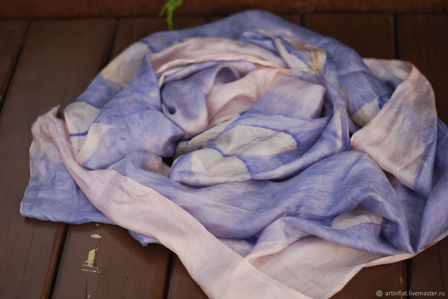 Silk scarf 'Summer dream' purple with prints of leaves, Scarves, Moscow,  Фото №1