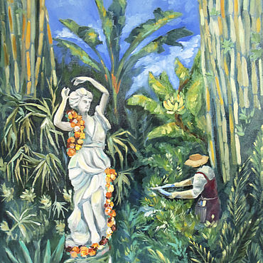 Pictures and panels handmade. Livemaster - original item Gardener in tropical garden oil Painting. Handmade.