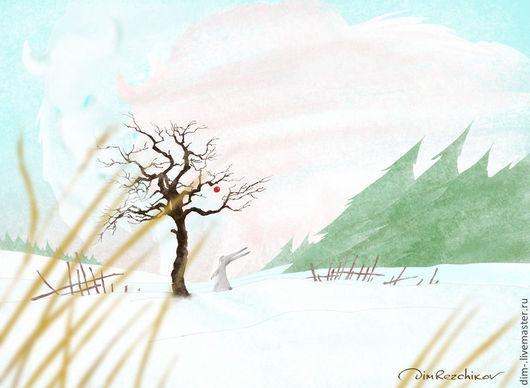 """Животные ручной работы. Ярмарка Мастеров - ручная работа. Купить """"Зимнее яблочко. Декабрь""""  авторский принт. Handmade. Авторский принт"""