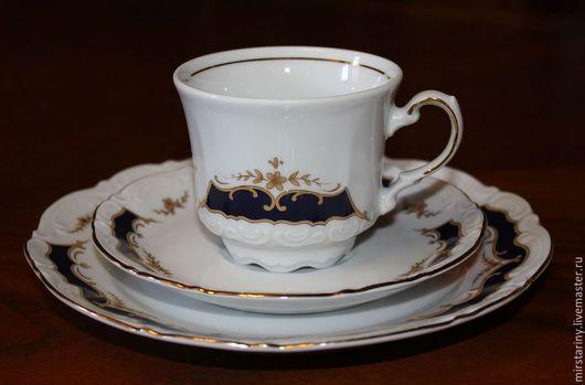 Винтажная посуда. Ярмарка Мастеров - ручная работа. Купить Красивая чайная тройка с орнаментом из кобальта, Mitterteich, Германия. Handmade.