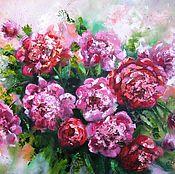 Картины и панно handmade. Livemaster - original item Peonies painting with oil on canvas, paintings of flowers,flowers. Handmade.