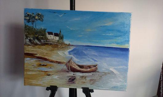 Пейзаж ручной работы. Ярмарка Мастеров - ручная работа. Купить Картина Средиземноморский пейзаж. Handmade. Голубой, морской пейзаж, волны