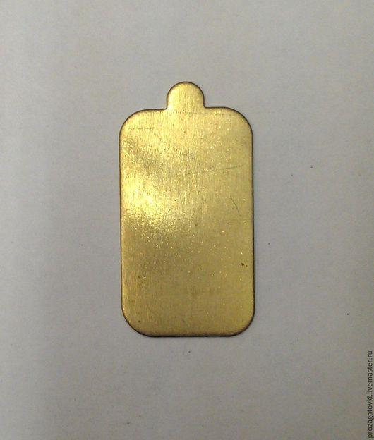 Латунь 21х35х1,5мм, заготовка кулон жетон, золотистый, для творчества.
