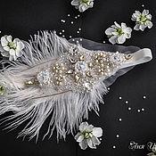 Свадебный салон ручной работы. Ярмарка Мастеров - ручная работа Свадебное украшение для невесты Повязка на голову Хрустальное перо. Handmade.