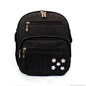 Сумки и аксессуары handmade. Livemaster - original item Women`s urban backpack denim backpack black casual small. Handmade.