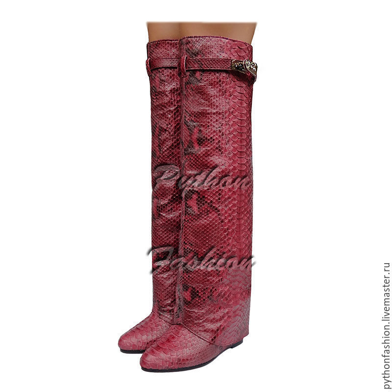 boots Python. Designer boots Givenchy Python skin. Women's fashion boots handmade. Red boots Python wedge. Womens boots Python. Fashionable boots from Python wedge.