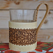 Для дома и интерьера handmade. Livemaster - original item Cup holder made of birch bark Cup. Mug for tea, cold drinks.. Handmade.