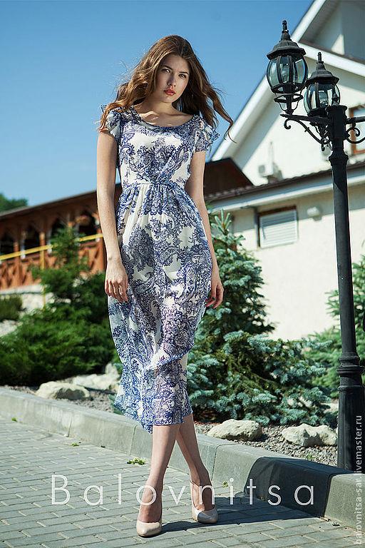 Платья ручной работы. Ярмарка Мастеров - ручная работа. Купить Платье из шифона с синим узором. Handmade. Синий, платье летнее