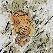Картины и панно ручной работы. Ярмарка Мастеров - ручная работа картинаТигр в зарослях тростника(китайская живопись животные декор инт. Handmade.